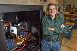 Sandia National Laboratories electrical engineer Bob Kaplar heads a project studying ultrawide bandgap semiconductor materials. The project is answering such questions as how materials behave and how to work with them steps toward improving everything from consumer electronics to power grids. (Photo by Randy Montoya) Click on the thumbnail for a high-resolution image.