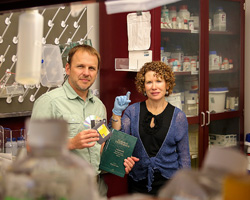 Marlene and George Bachand show off their new method for encrypting and storing sensitive information in DNA