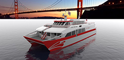 An artistic rendering of the proposed San Francisco Bay Renewable Energy Electric Vessel with Zero Emissions (SF-BREEZE), A Sandia-led study found that a high-speed, hydrogen-fueled passenger ferry is feasible. (Image courtesy of Sandia National Laboratories) Click on the thumbnail for a high-resolution image.