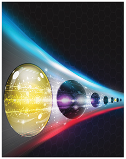 This stylized illustration of a quantum bridge shows an array of holes etched in diamond with two silicon atoms placed between the holes. (Illustration courtesy of Sandia National Laboratories) Click on the thumbnail for a high-resolution image.