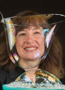 Susan Rempe with a soap bubble