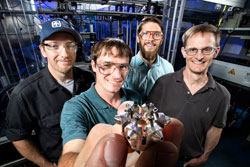 Researchers show off the prototype ducted fuel injection module.