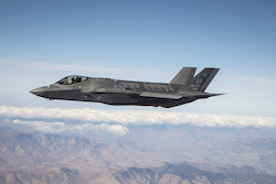 F-35A fighter jet in flight.