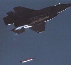 An F-35A drops a B61-12 over Sandia