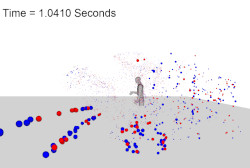 Grey figure with red and blue dots heading toward viewer. Time reads 1.04 seconds