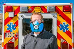 Todd Barrick wearing respirator