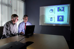 Sandia engineer Paul Taylor, left and Corey Ford, neurologist at the University of New Mexico's Department of Neurology, study models of early traumatic brain injury